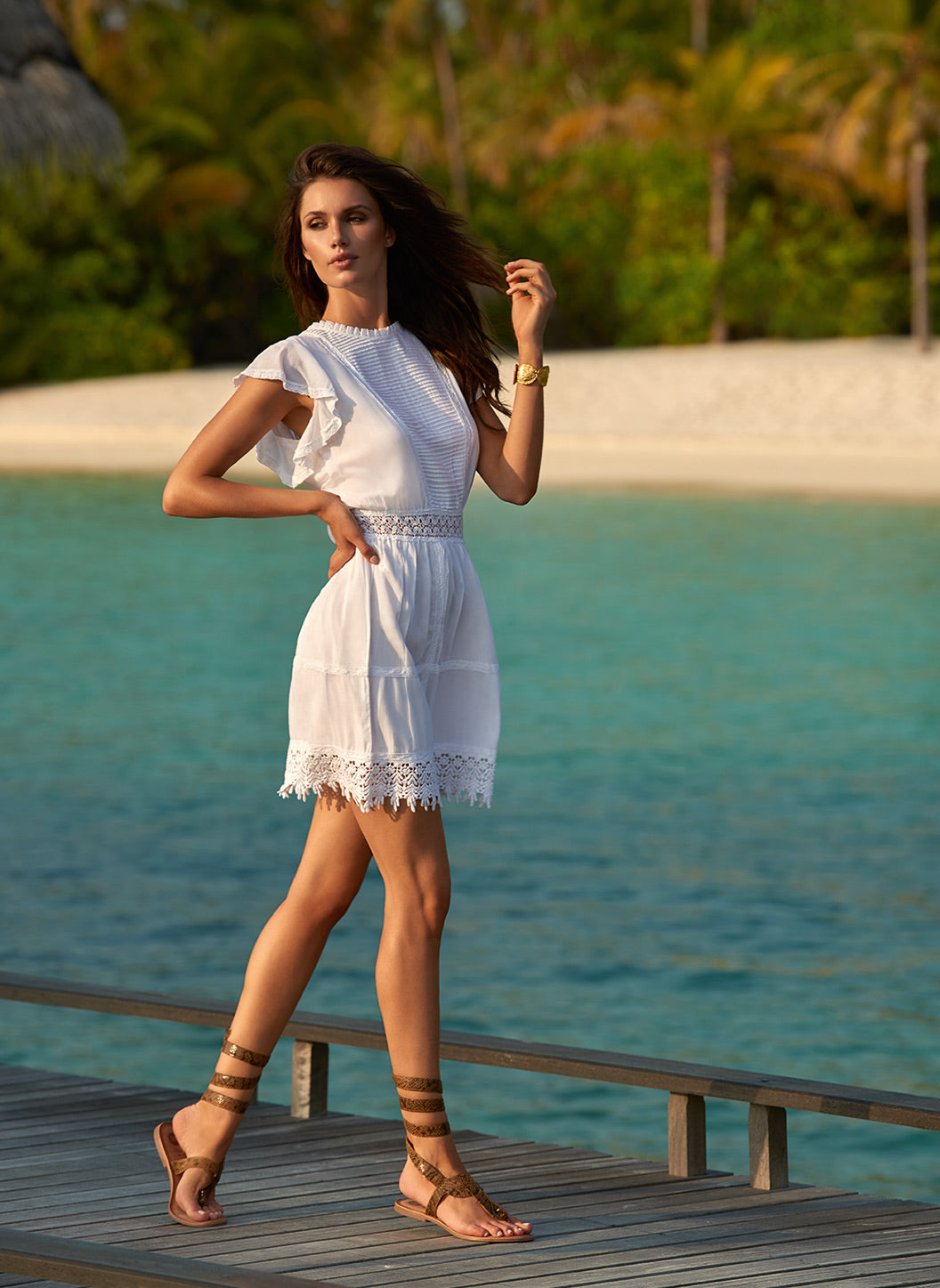 Loretta White High Neck Short Tea Dress - Melissa Odabash Dresses & Kaftans