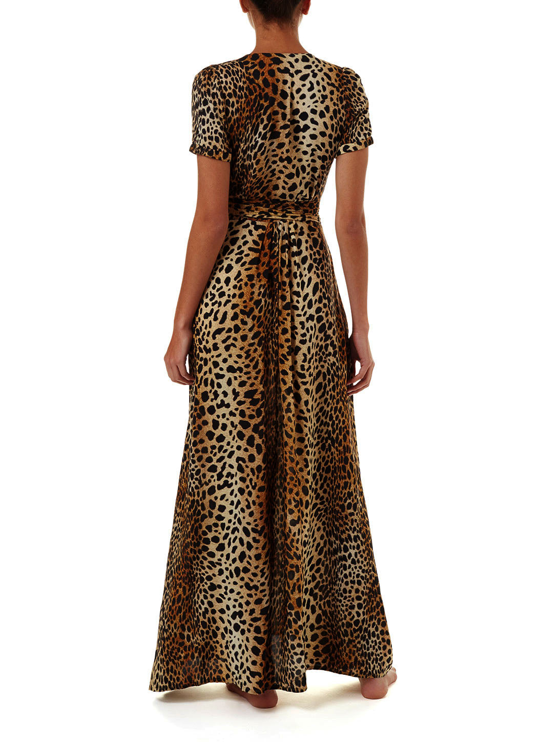 Lou Cheetah V-Neck Short Sleeve Belted Maxi Dress