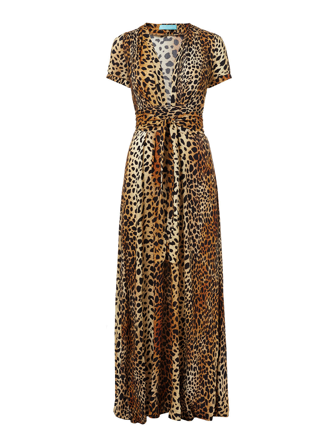 Lou Cheetah V-Neck Short Sleeve Belted Maxi Dress - Melissa Odabash Beachwear