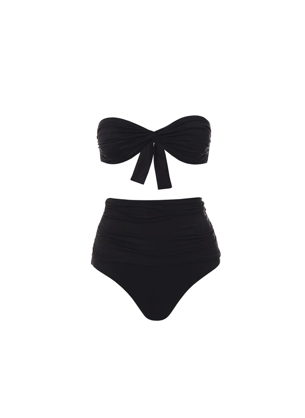 Lyon Black High Waisted Bandeau Bikini