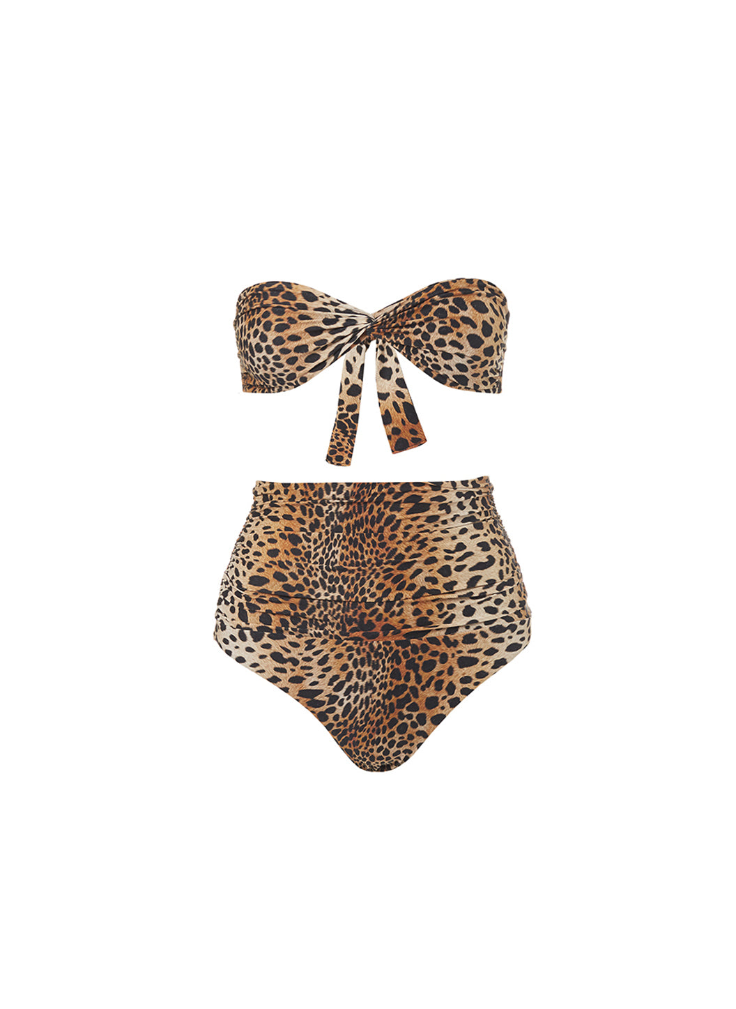 Lyon Cheetah High Waisted Bandeau Bikini