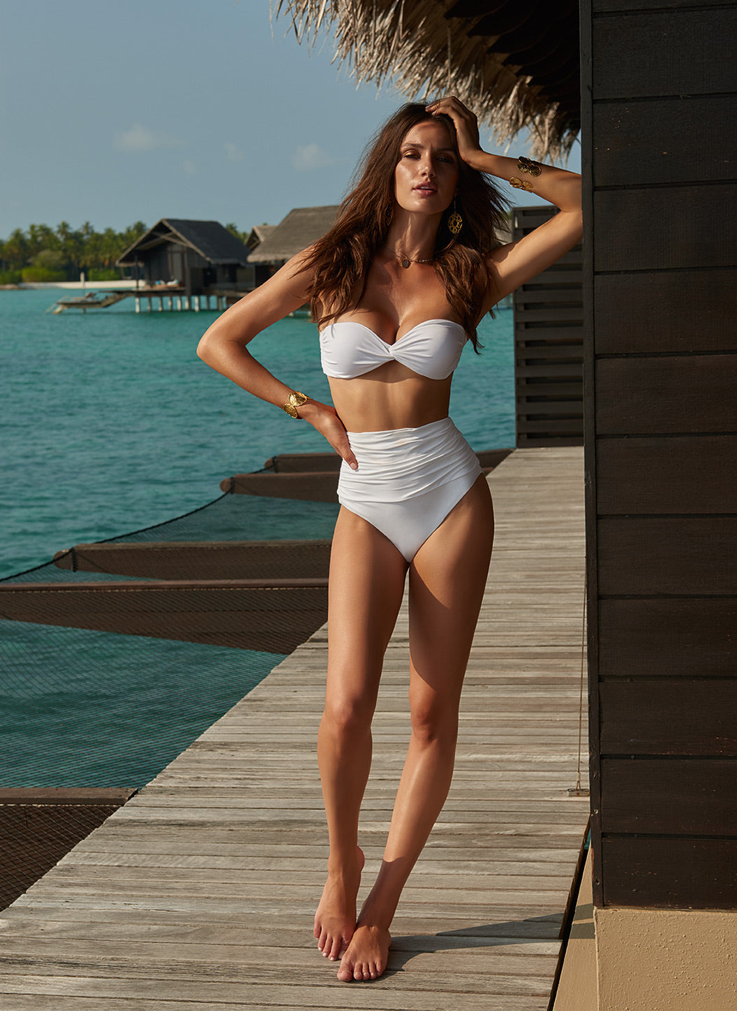 Lyon White High Waisted Bandeau Bikini