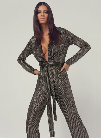 Look 4 Deep V Belted Jumpsuit Gold Stripe