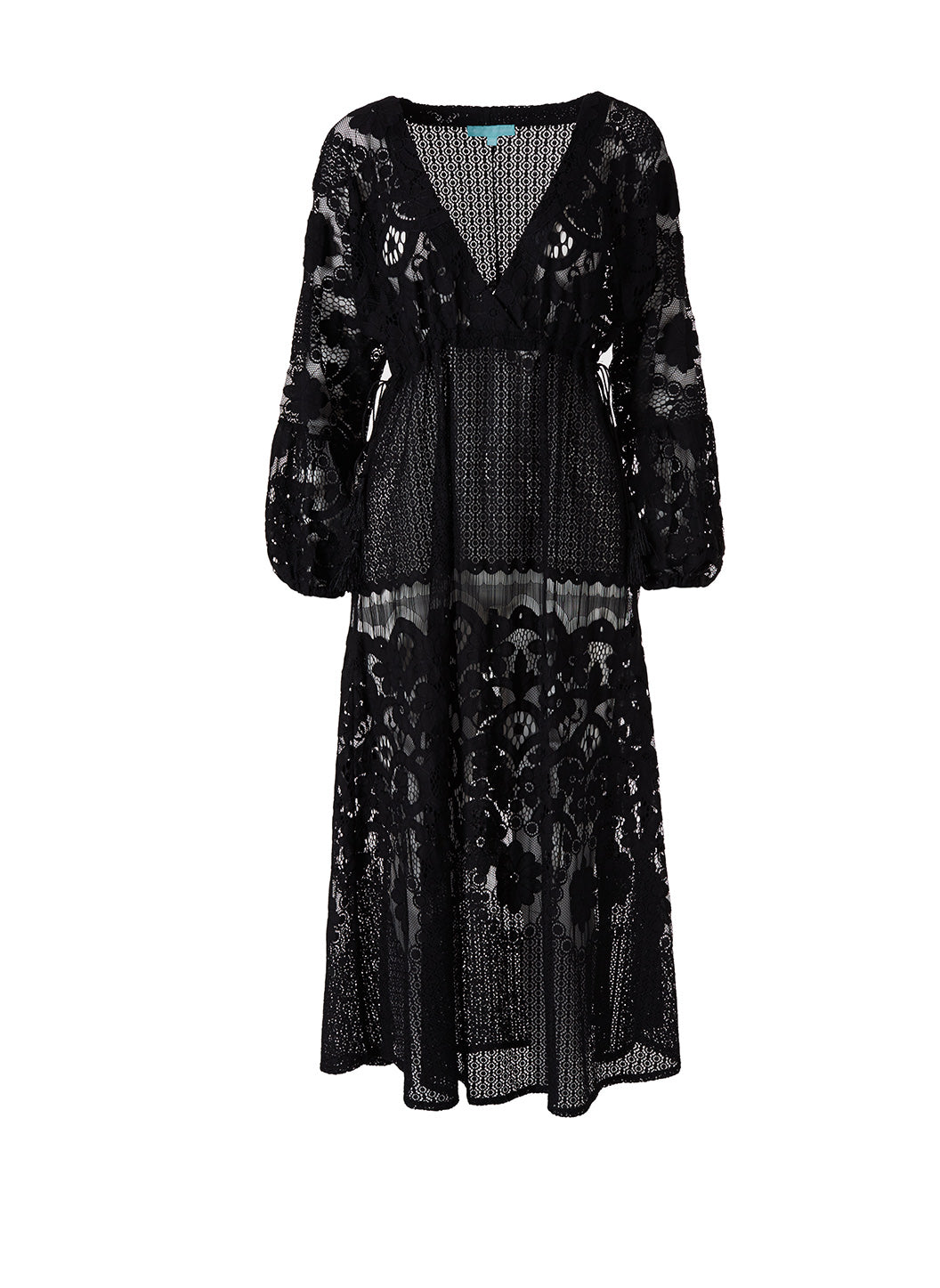 Melissa Black Lace Tie-Side Midi Dress