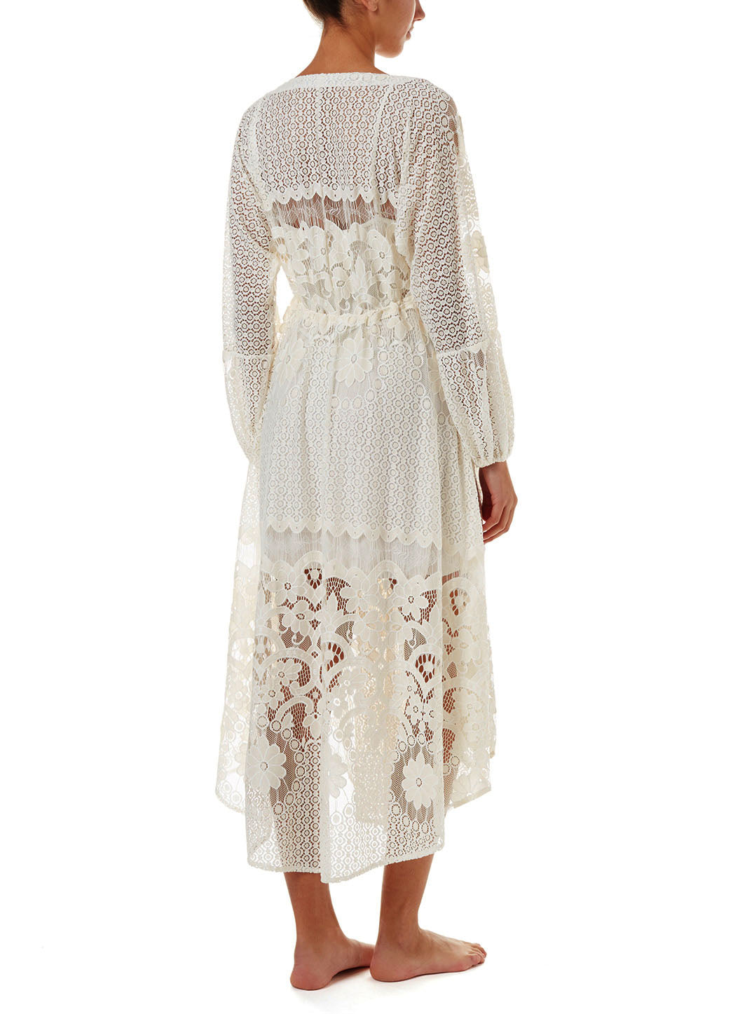 Melissa Cream Lace Tie-Side Midi Dress