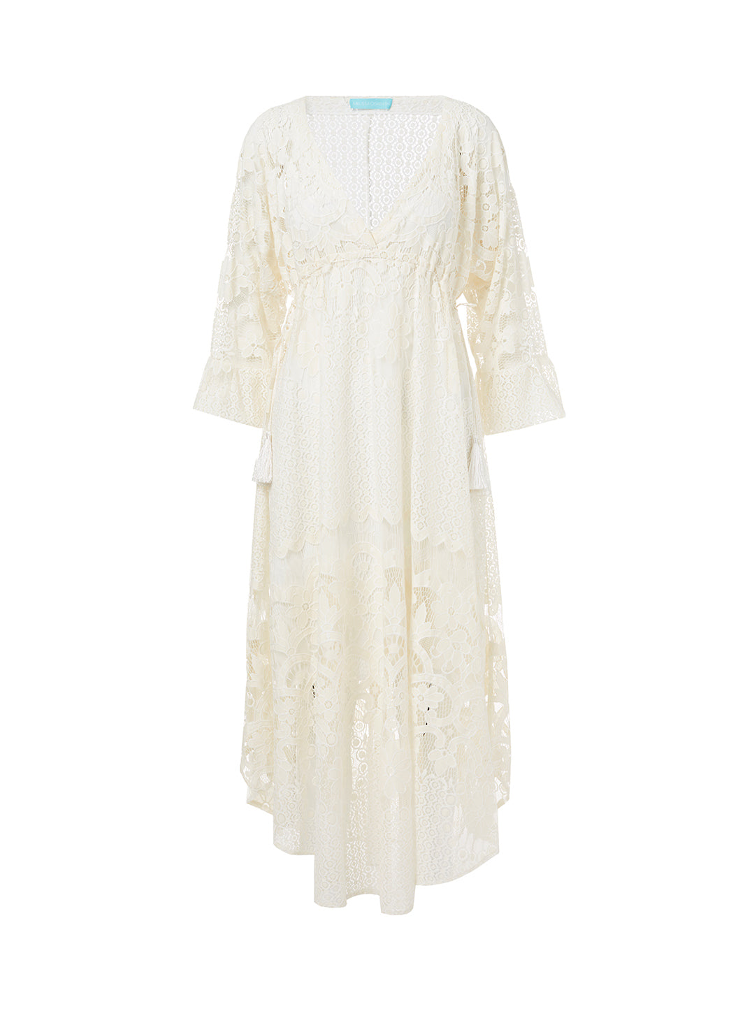Melissa Cream Lace Tie-Side Midi Dress - Melissa Odabash Dresses & Kaftans