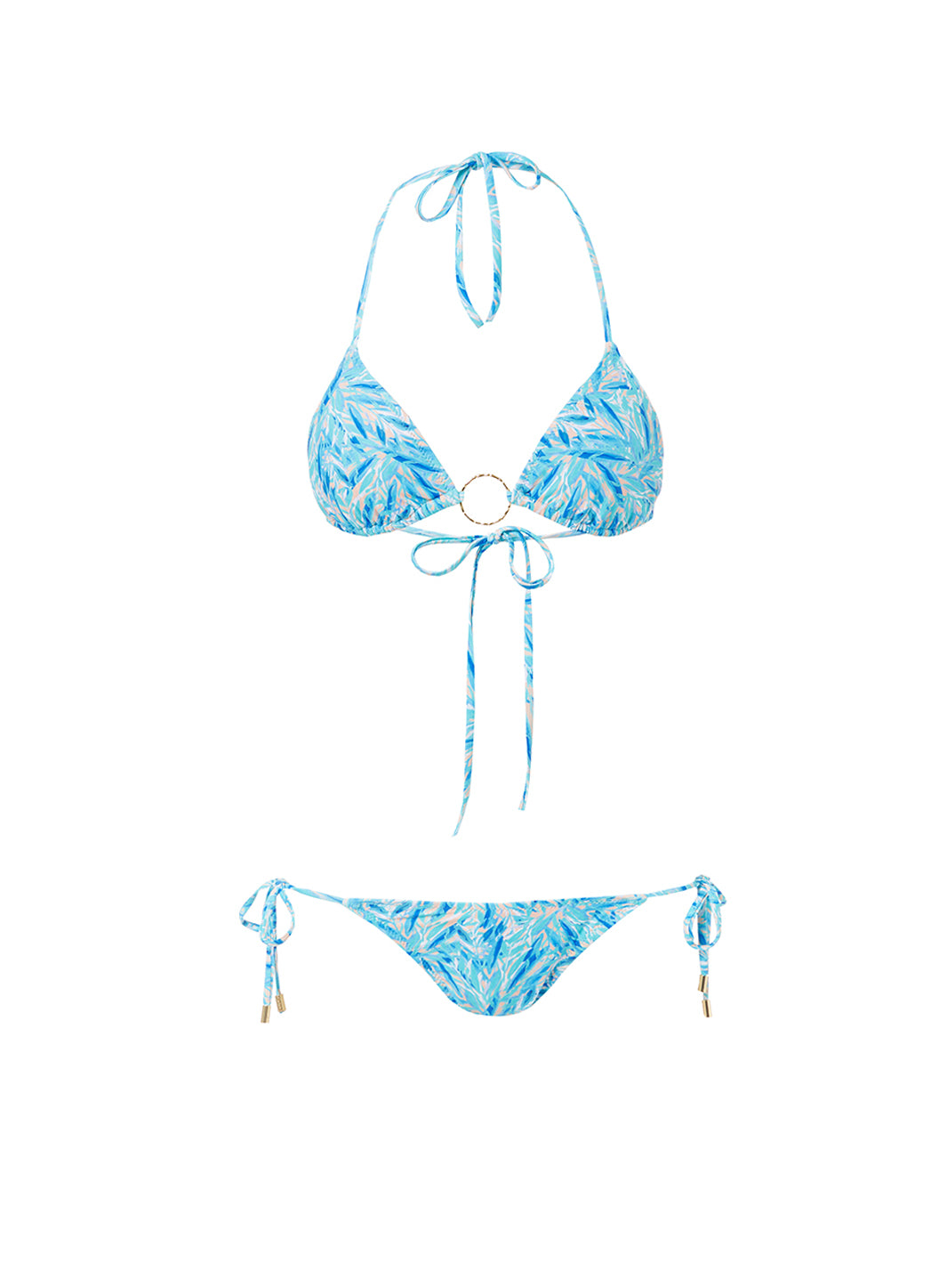 Miami Blue Leaf Triangle Ring Bikini - Melissa Odabash Swimwear