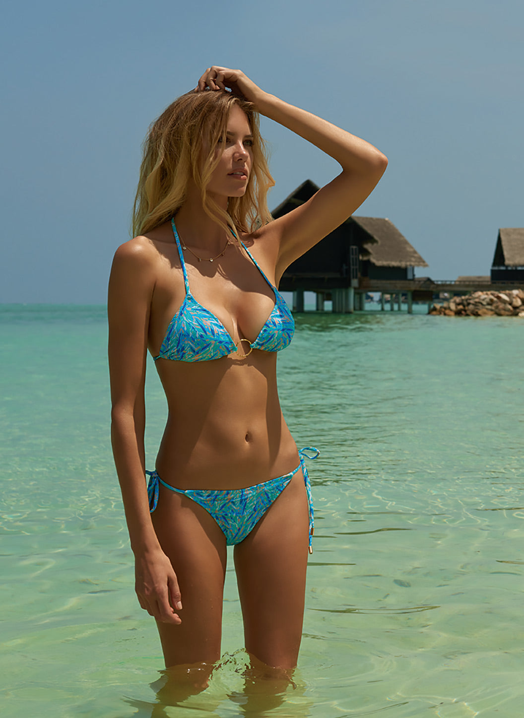 Miami Blue Leaf Triangle Ring Bikini - Melissa Odabash Triangle Bikinis