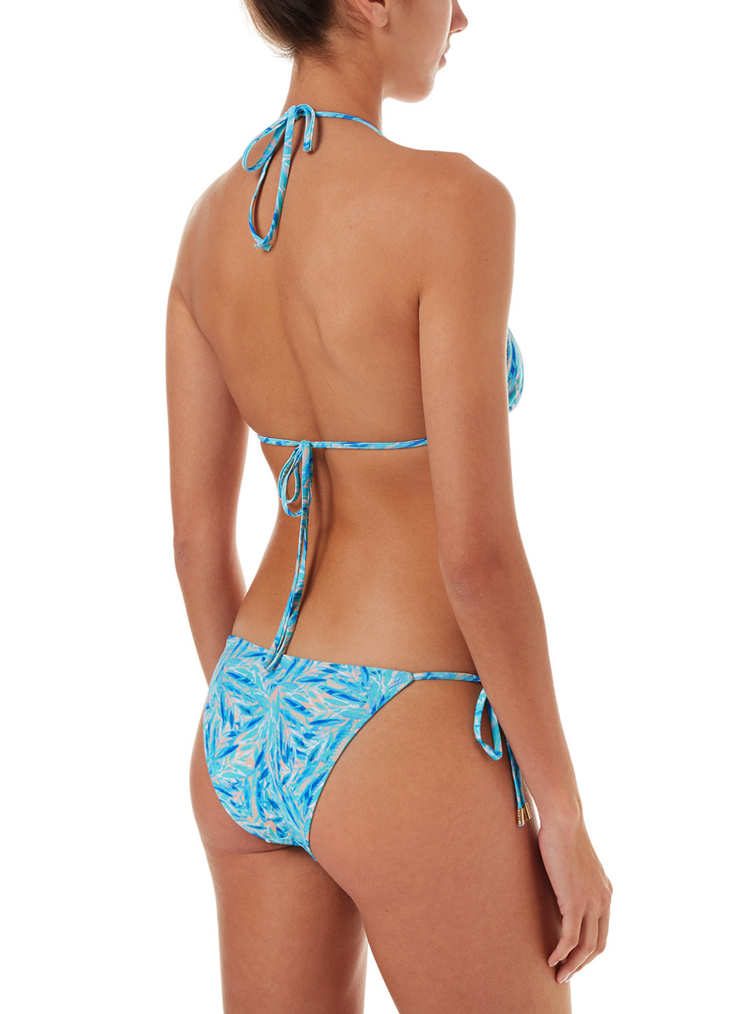 Miami Blue Leaf Triangle Ring Bikini
