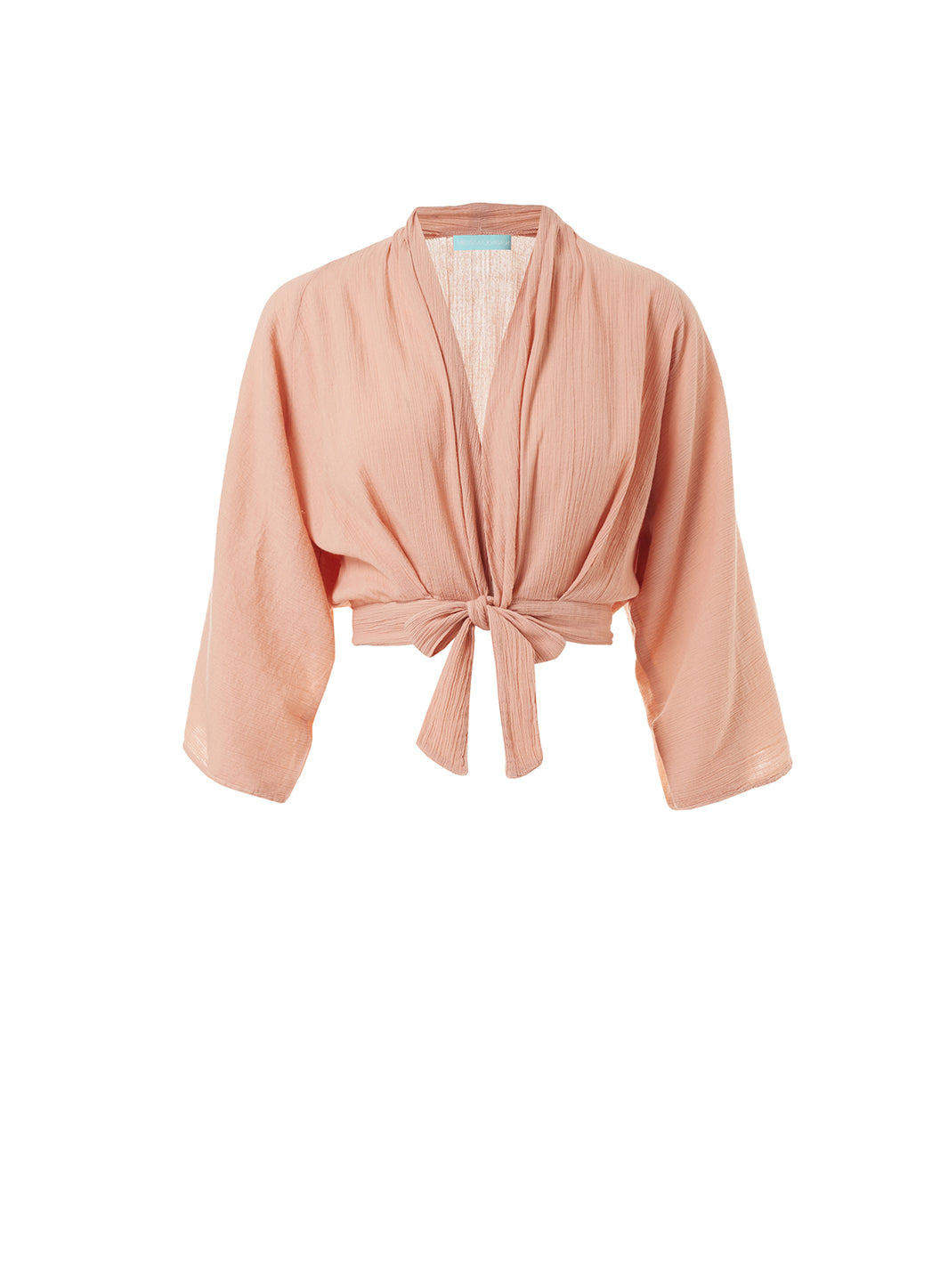 Mila Tan Tie-Front Cropped Blouse