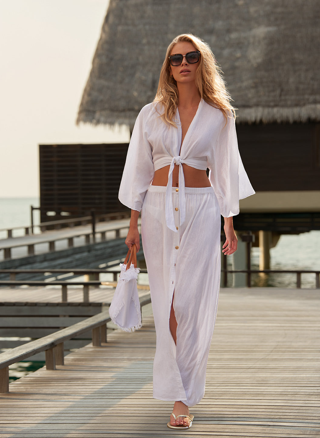 Mila White Tie-Front Cropped Blouse - Melissa Odabash Tops & Bottoms