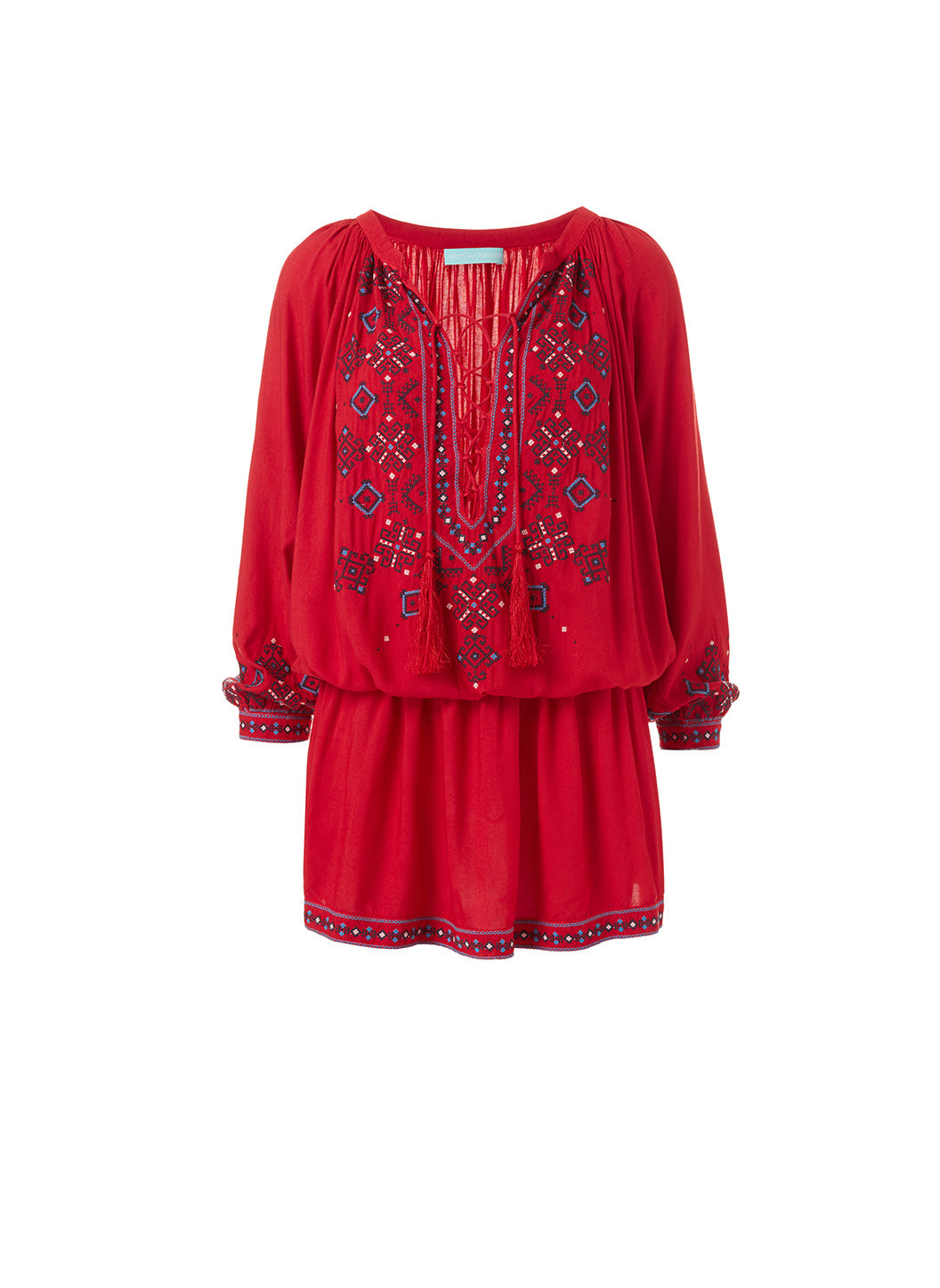Nadja Red Embroidered 3/4 Sleeve Short Dress  - Melissa Odabash Beachwear