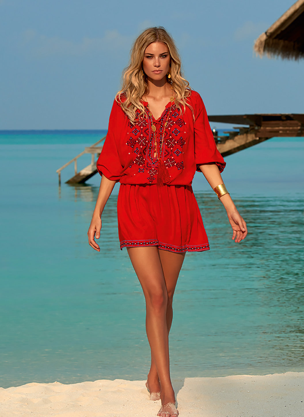 Nadja Red Embroidered 3/4 Sleeve Short Dress