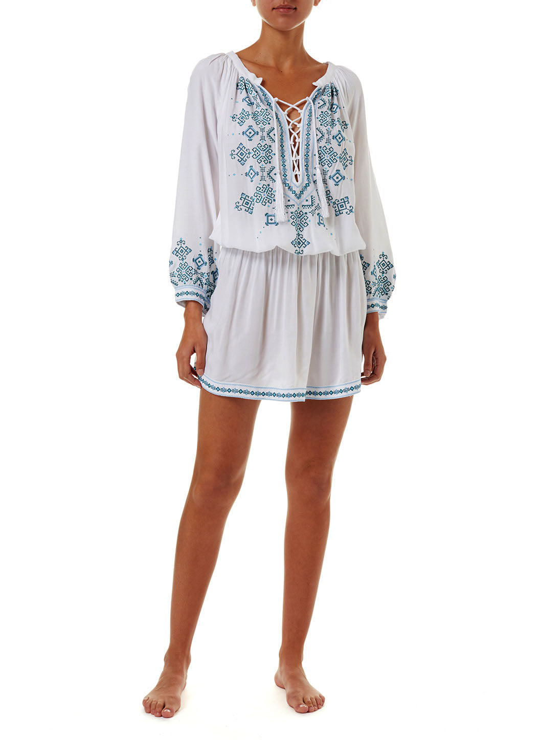 Nadja Whitemint Embroidered 3/4 Sleeve Short Dress