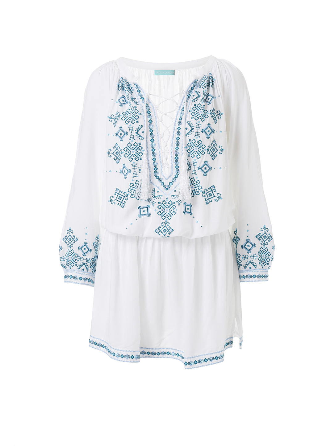 Nadja Whitemint Embroidered 3/4 Sleeve Short Dress - Melissa Odabash Beachwear