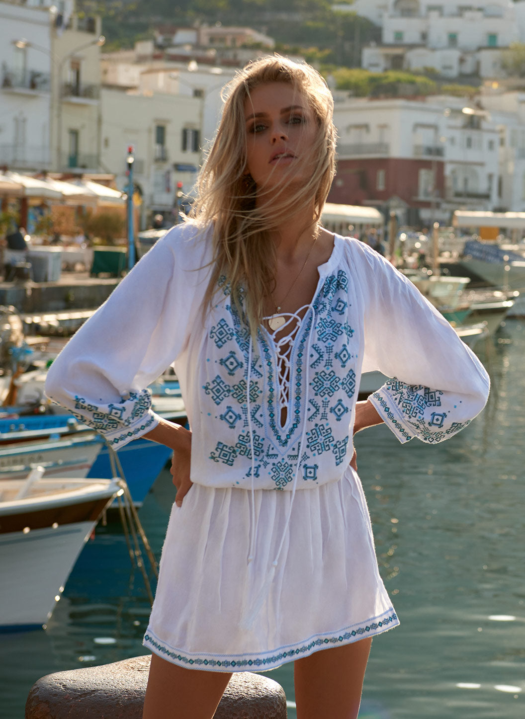Nadja Whitemint Embroidered 3/4 Sleeve Short Dress  - Melissa Odabash Dresses & Kaftans