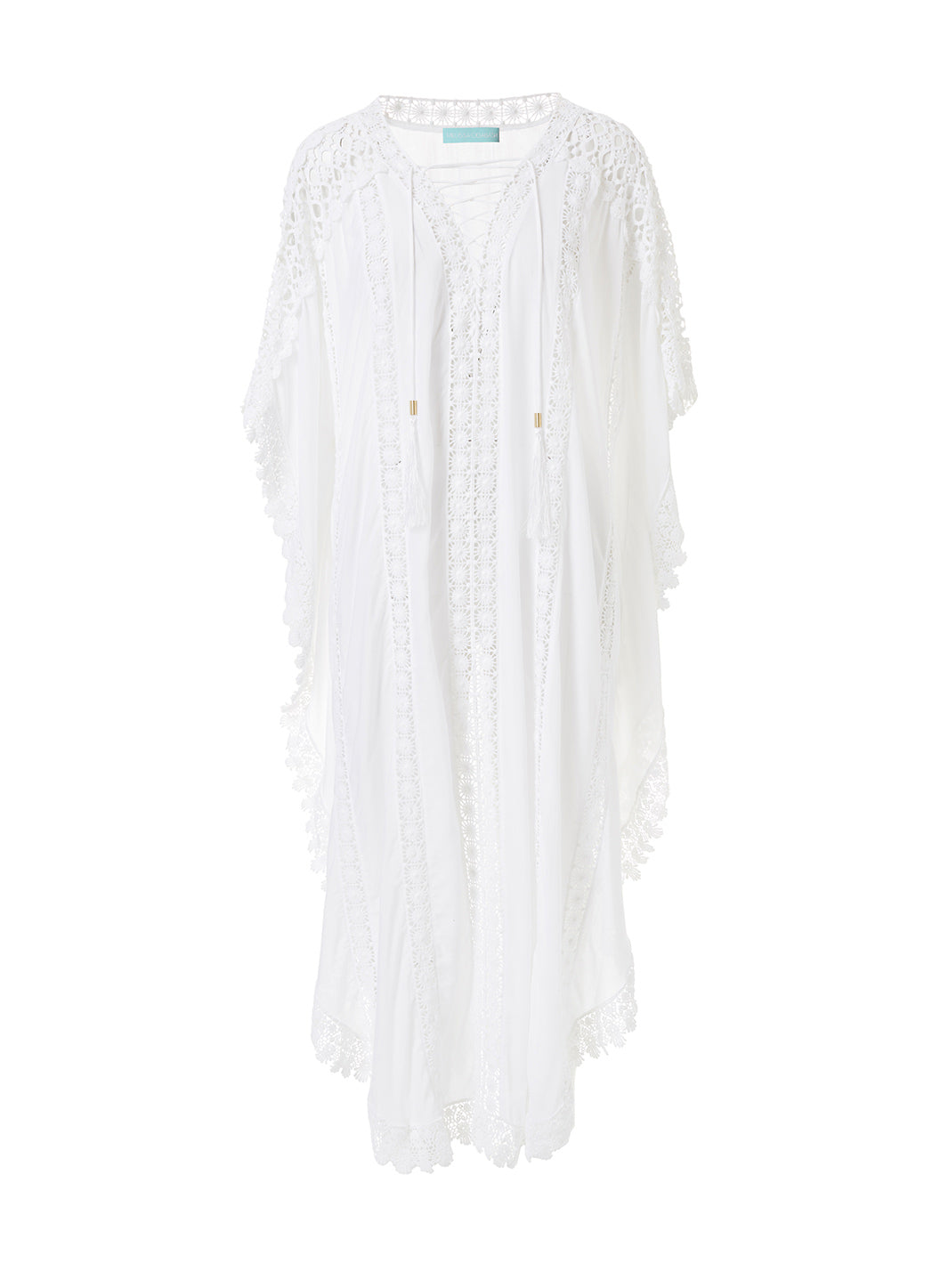 Nicki White Lace Embroidered V-Neck Maxi Kaftan - Melissa Odabash Beachwear