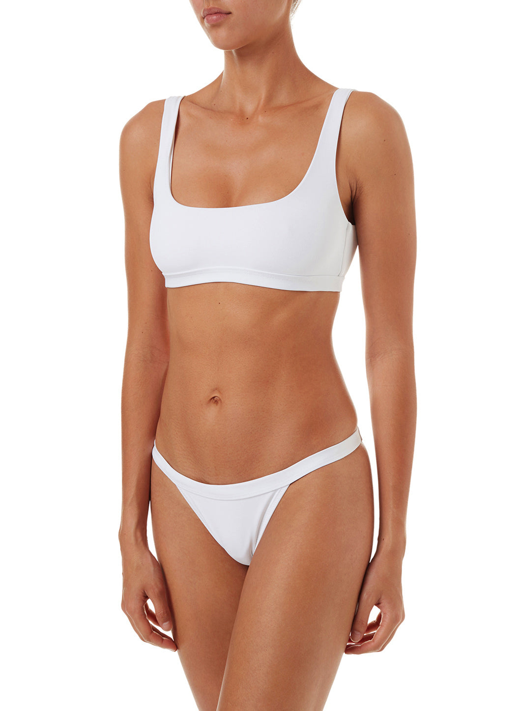 Orlando White Classic Over The Shoulder Crop Bikini