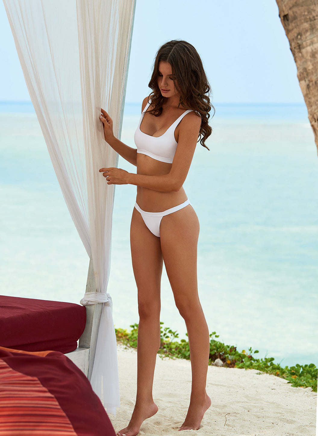 Orlando White Classic Over The Shoulder Crop Bikini  - Melissa Odabash Swimwear