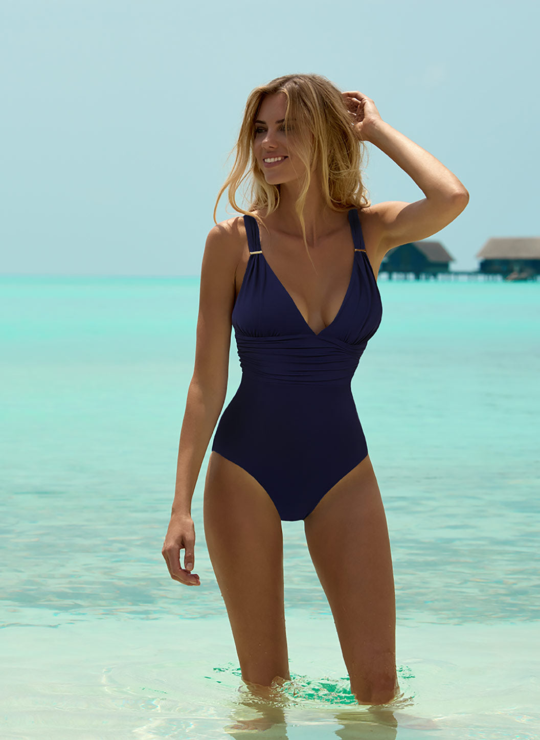 Panarea Navy Classic Over The Shoulder Ruched Swimsuit - Melissa Odabash One Piece