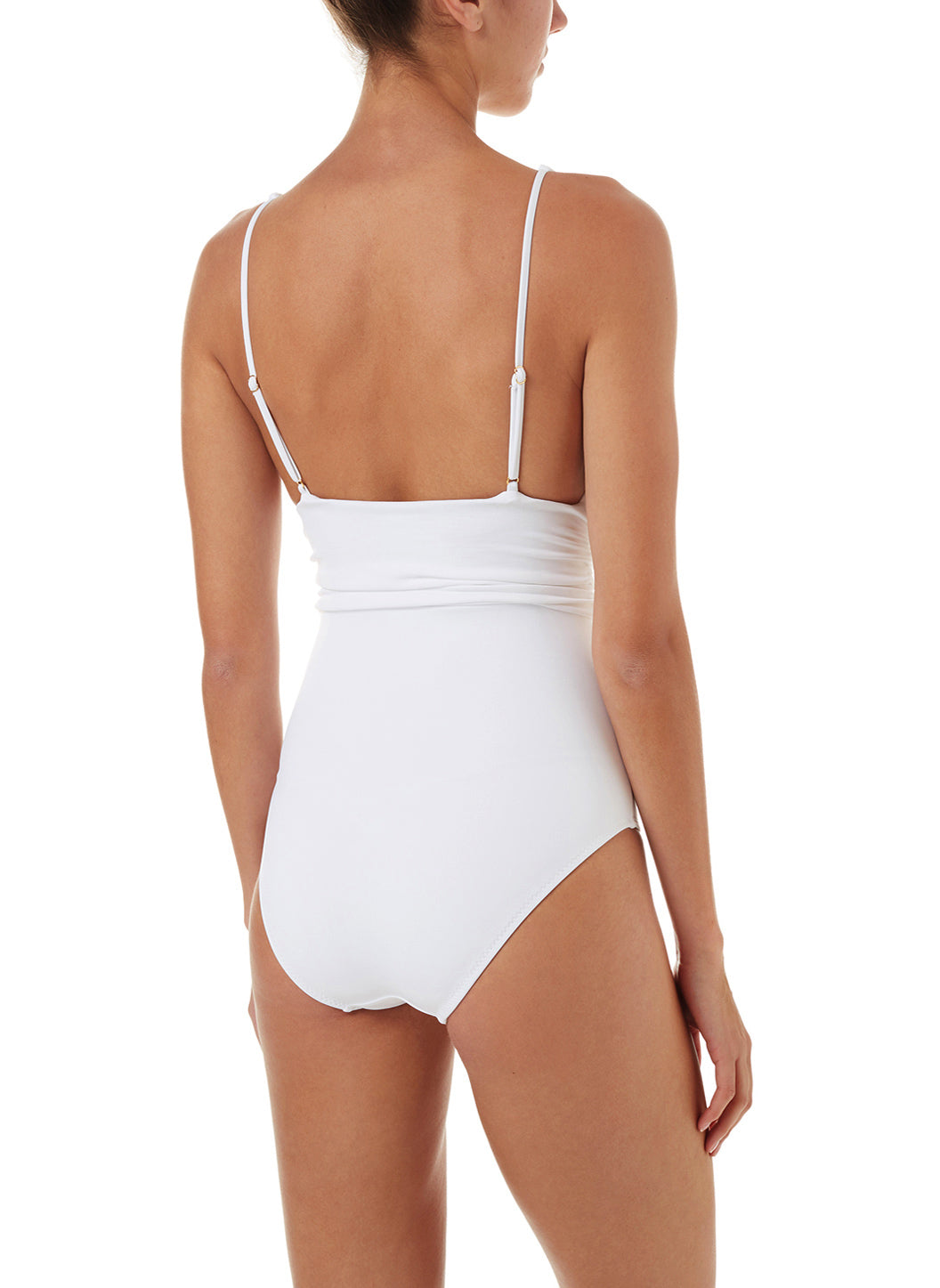 d4651f9e63656 Panarea White Classic Over The Shoulder Ruched One Piece Swimsuit ...
