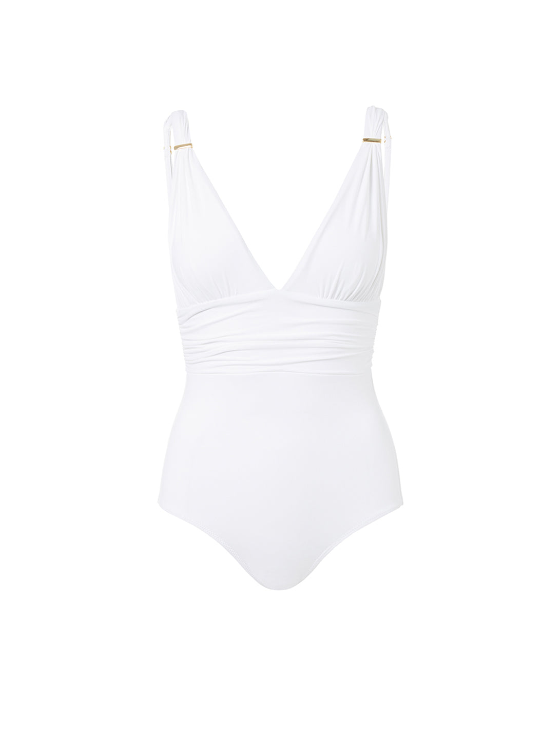 Panarea White Classic Over The Shoulder Ruched Swimsuit - Melissa Odabash One Piece