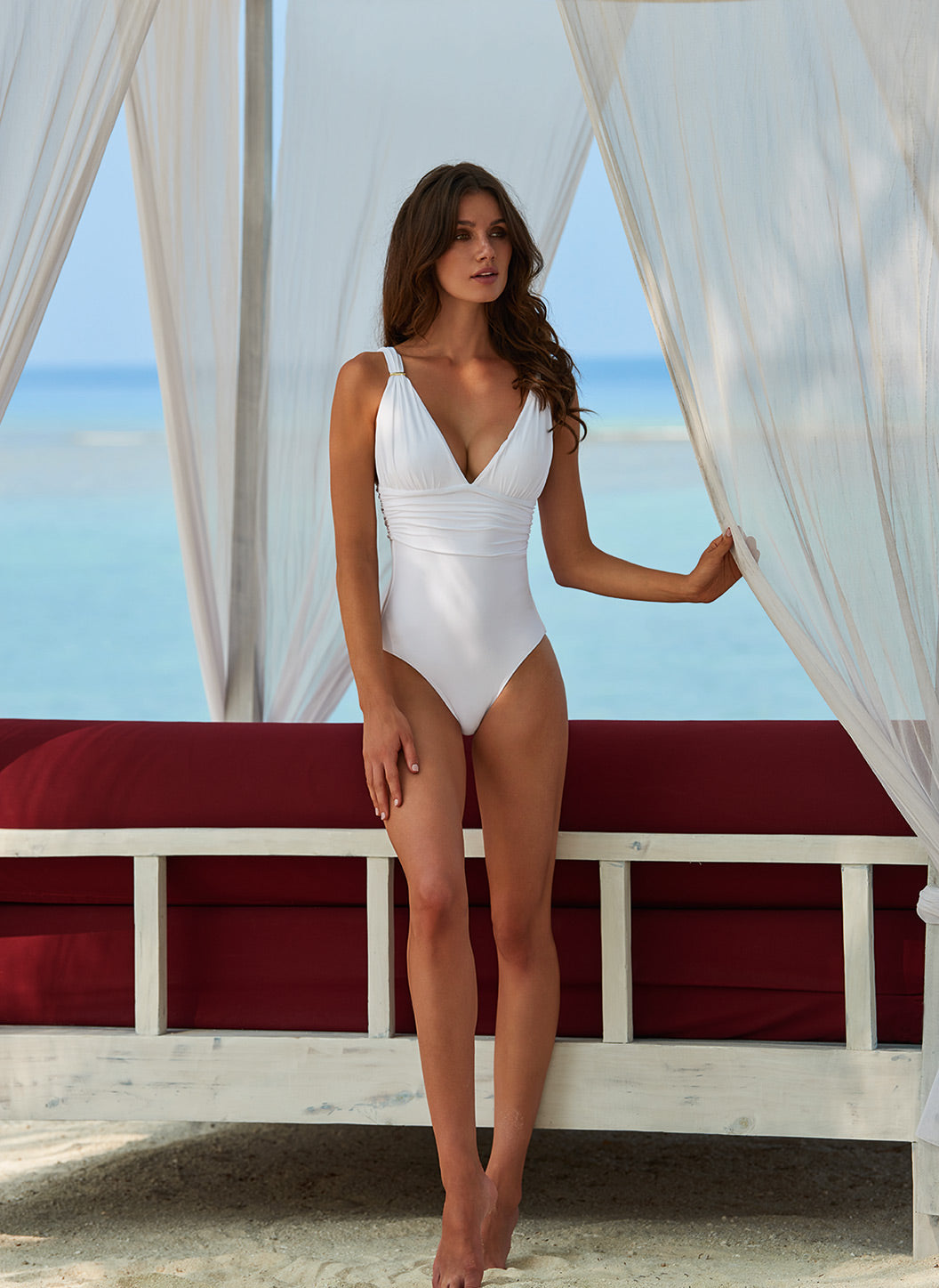 Panarea White Classic Over The Shoulder Ruched Swimsuit - Melissa Odabash Swimwear
