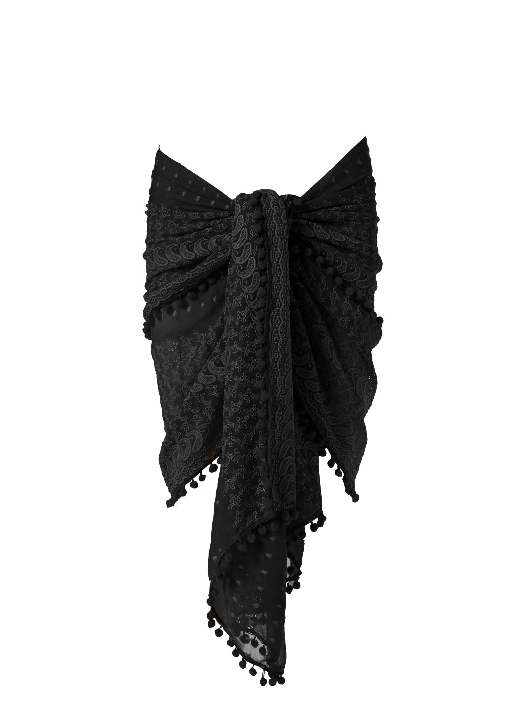 Pareo Black Embroidered Multi Way Cover Up
