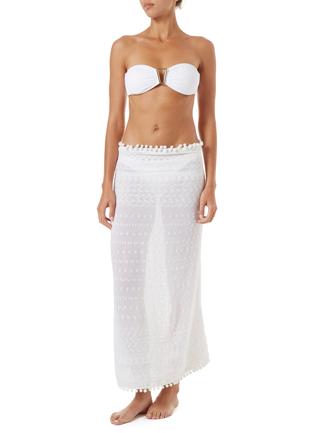 Pareo White Embroidered Multi-Way Cover Up
