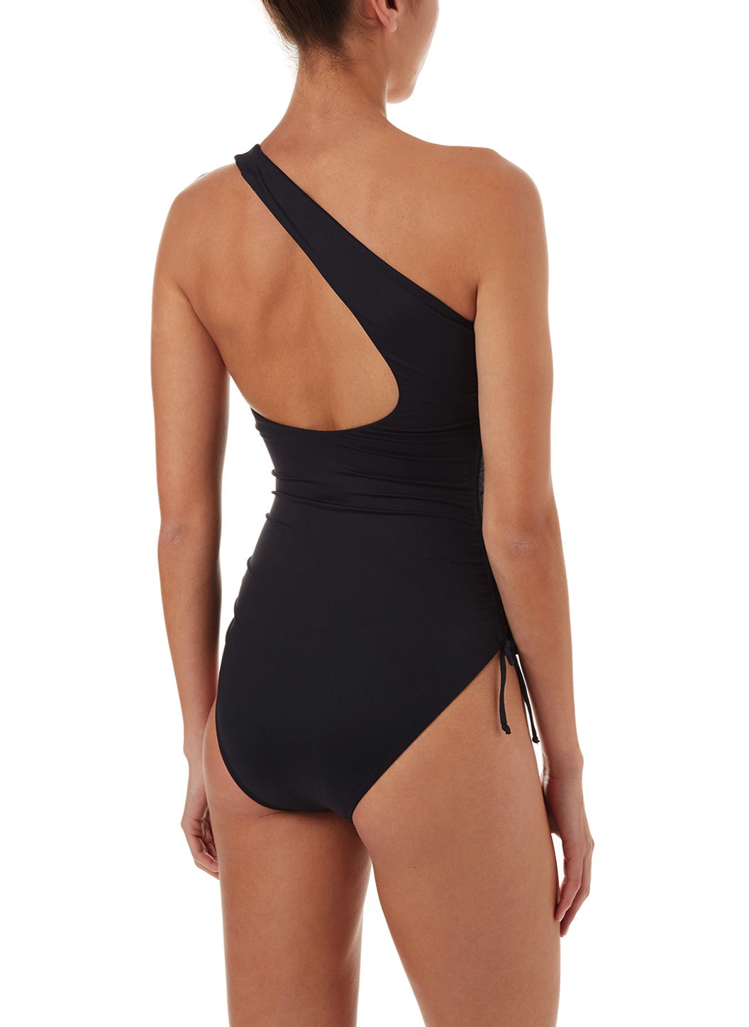 Polynesia Black One Shoulder Ruched Swimsuit