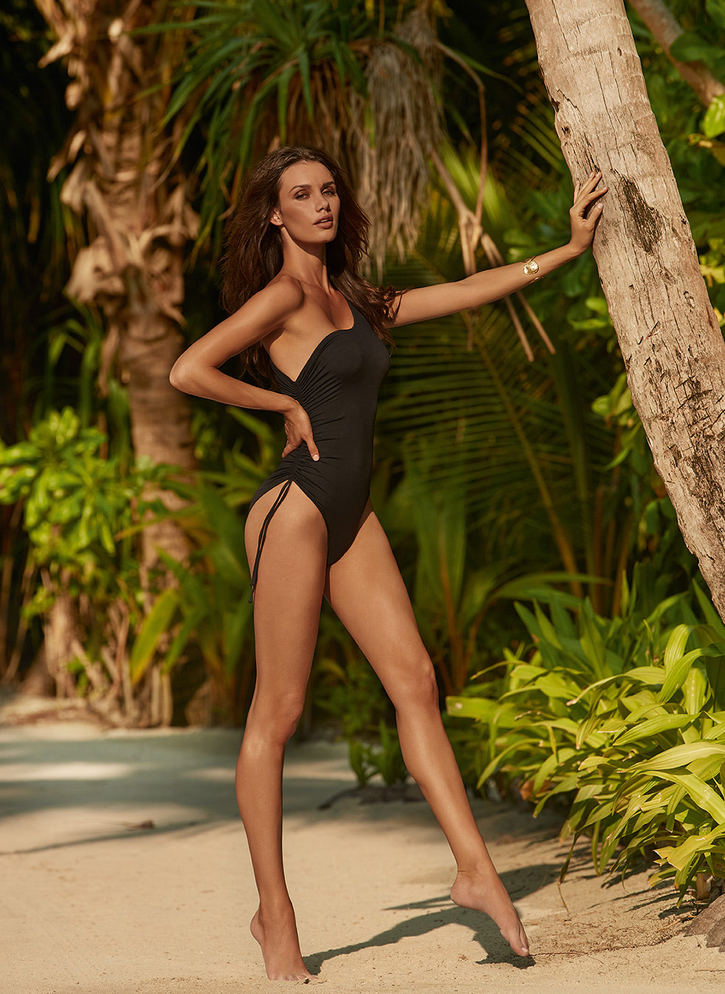 Polynesia Black One Shoulder Ruched Swimsuit  - Melissa Odabash Swimwear