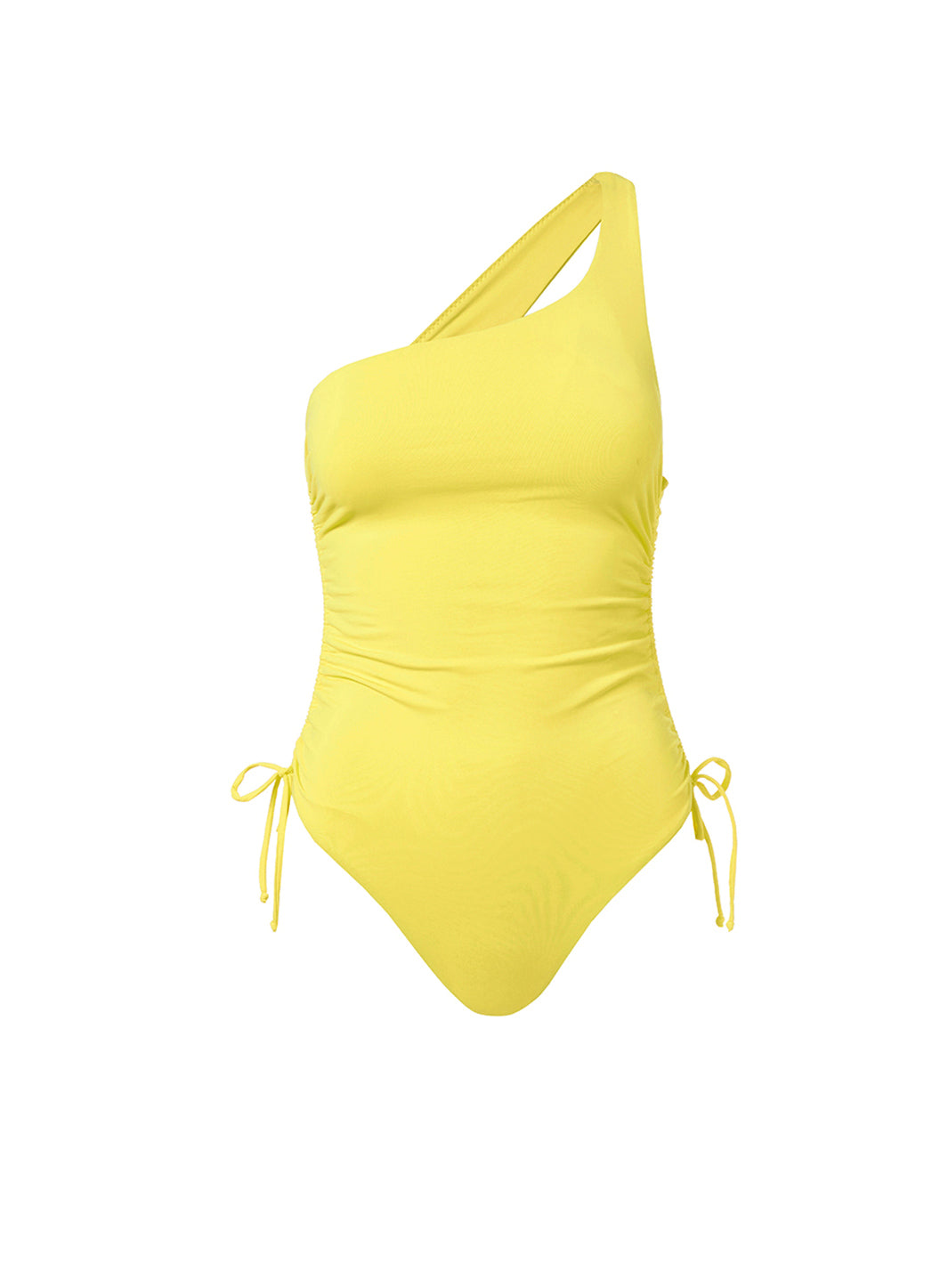 Polynesia Yellow One Shoulder Ruched Swimsuit - Melissa Odabash Yellow Swimsuits