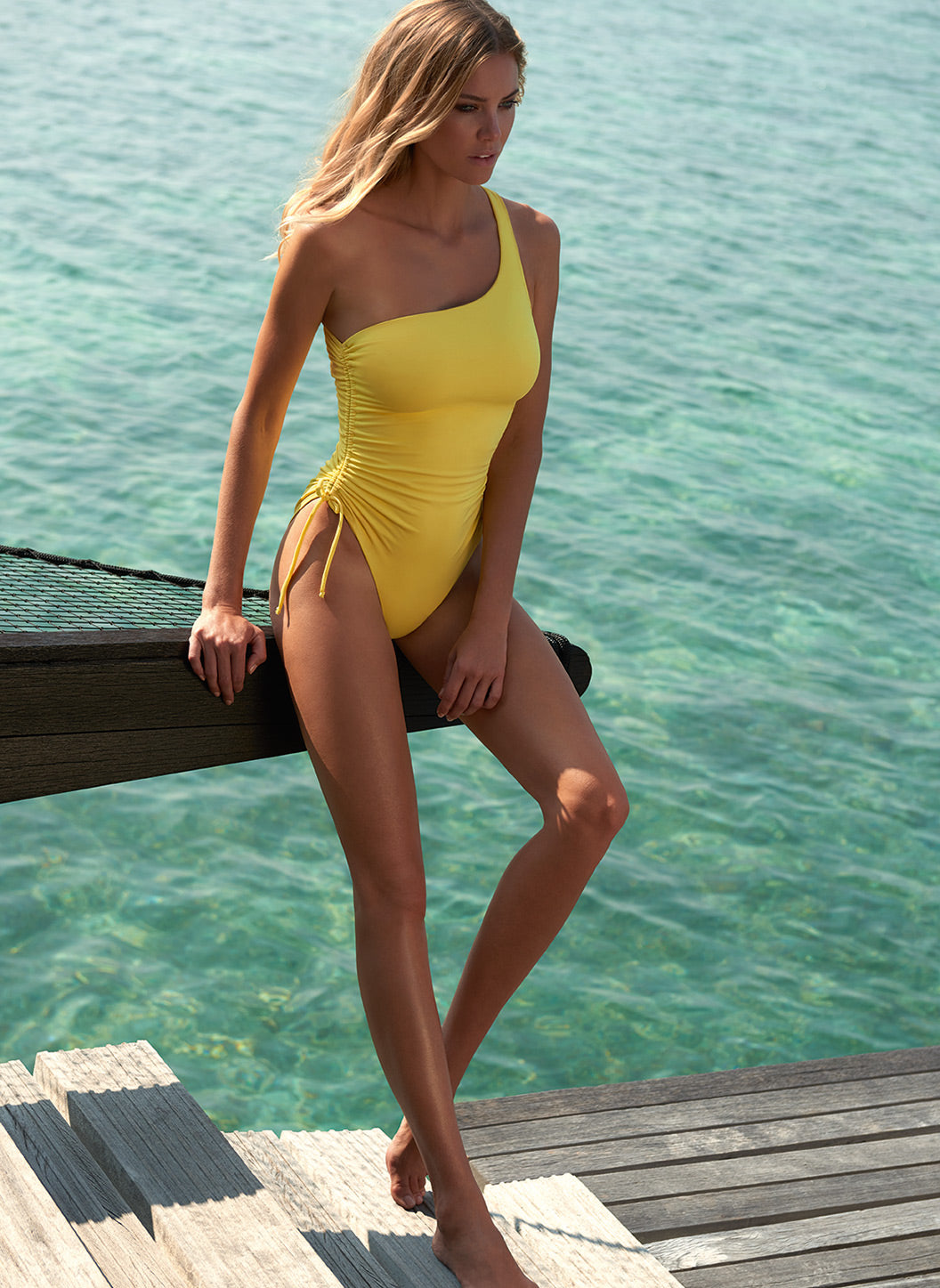 Polynesia Yellow One Shoulder Ruched Swimsuit - Melissa Odabash Swimwear