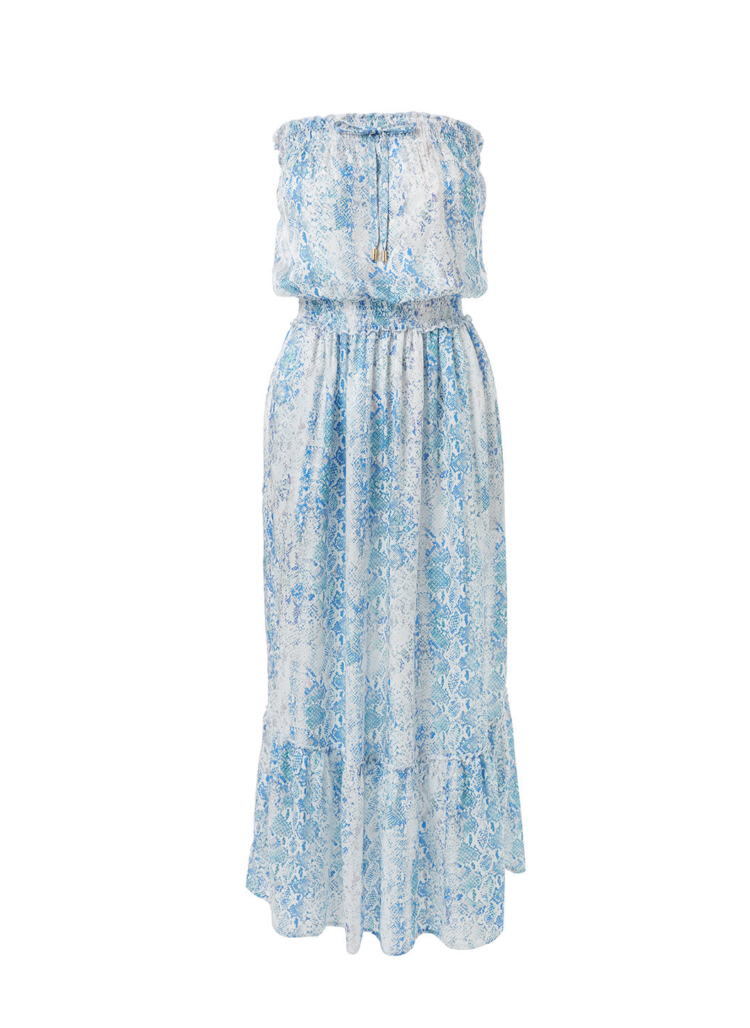 Rachel Serpente Bandeau Silk Maxi Dress