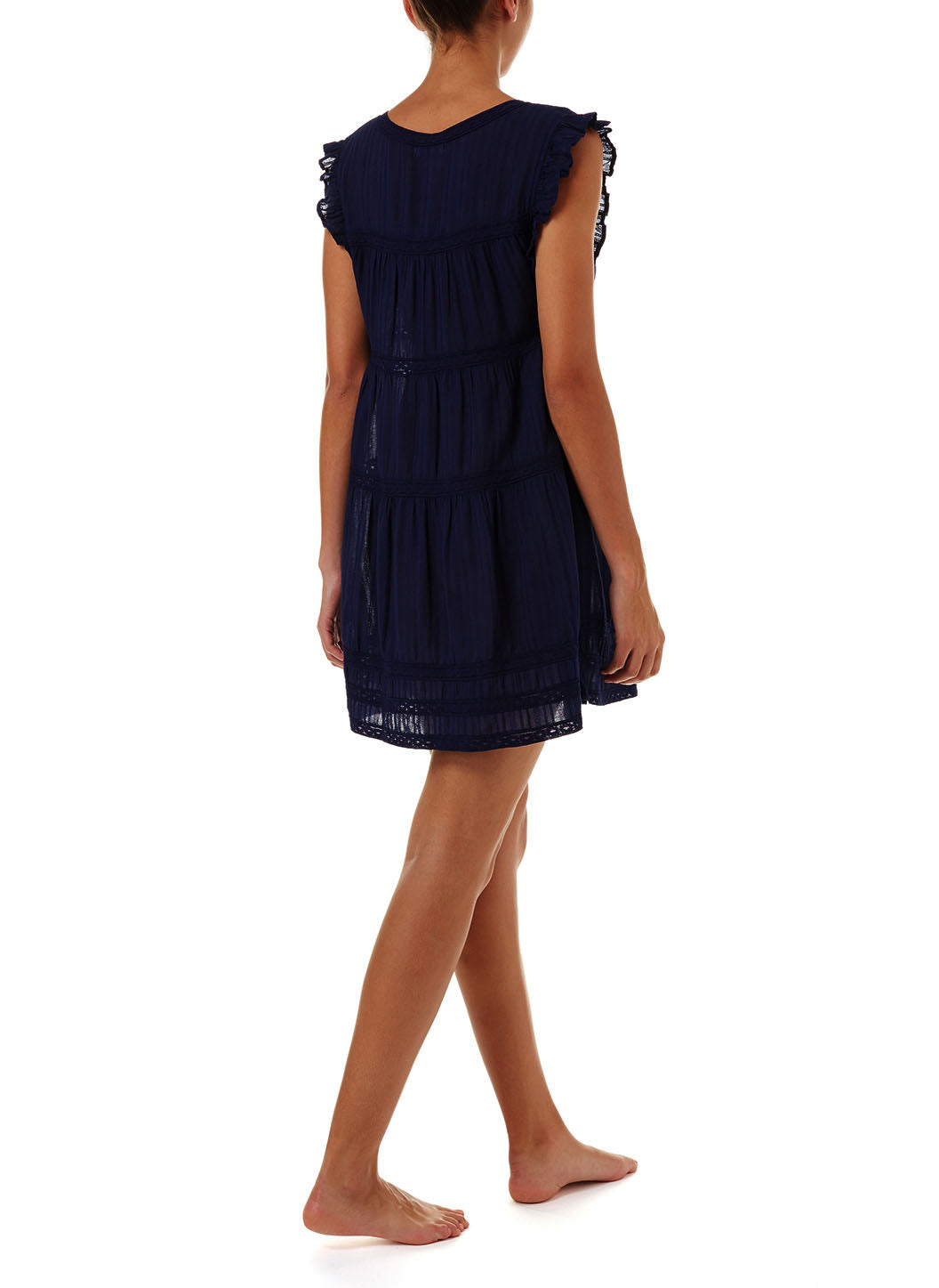 Rebekah Navy Button-Front Short Dress