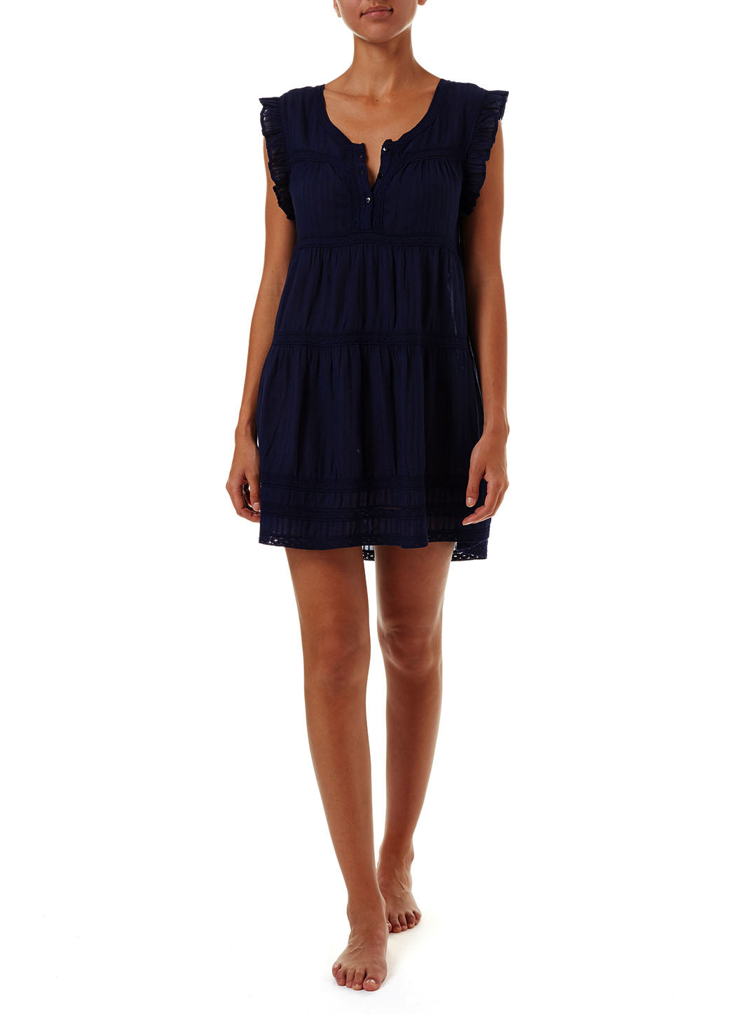 Rebekah Navy Button-Front Short Dress - Melissa Odabash Beachwear