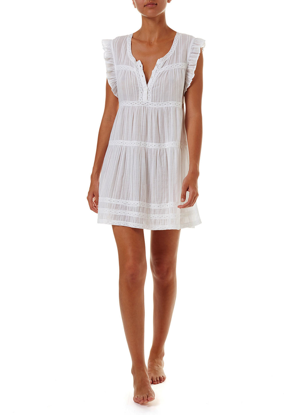 Rebekah White Button-Front Short Dress