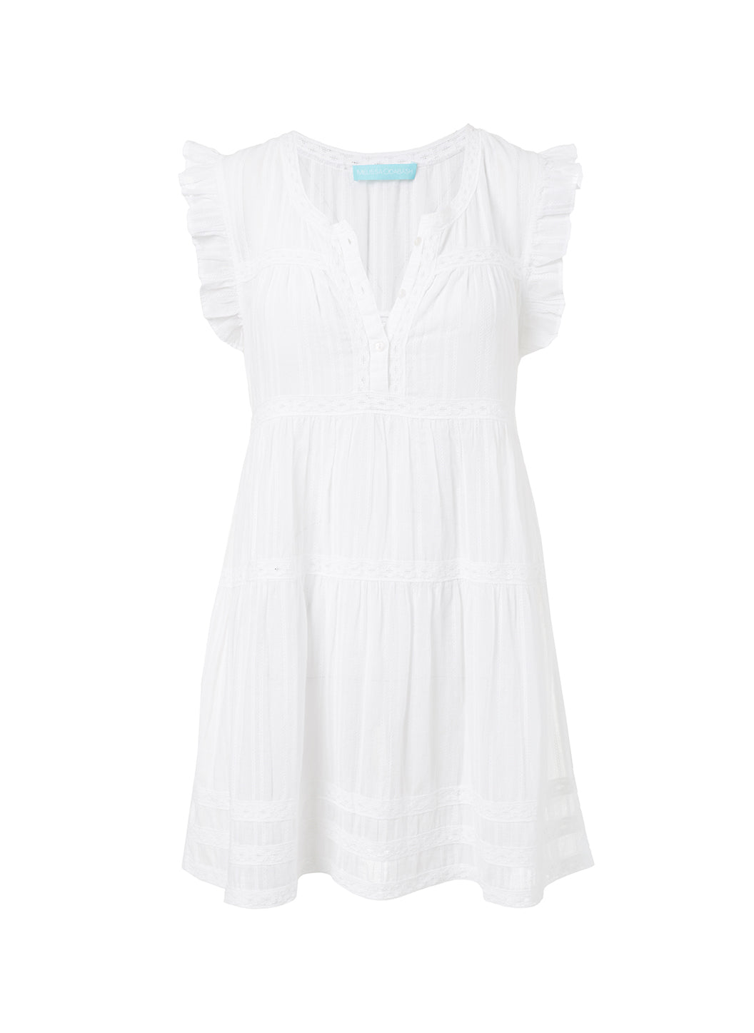 Rebekah White Button-Front Short Dress - Melissa Odabash Beachwear