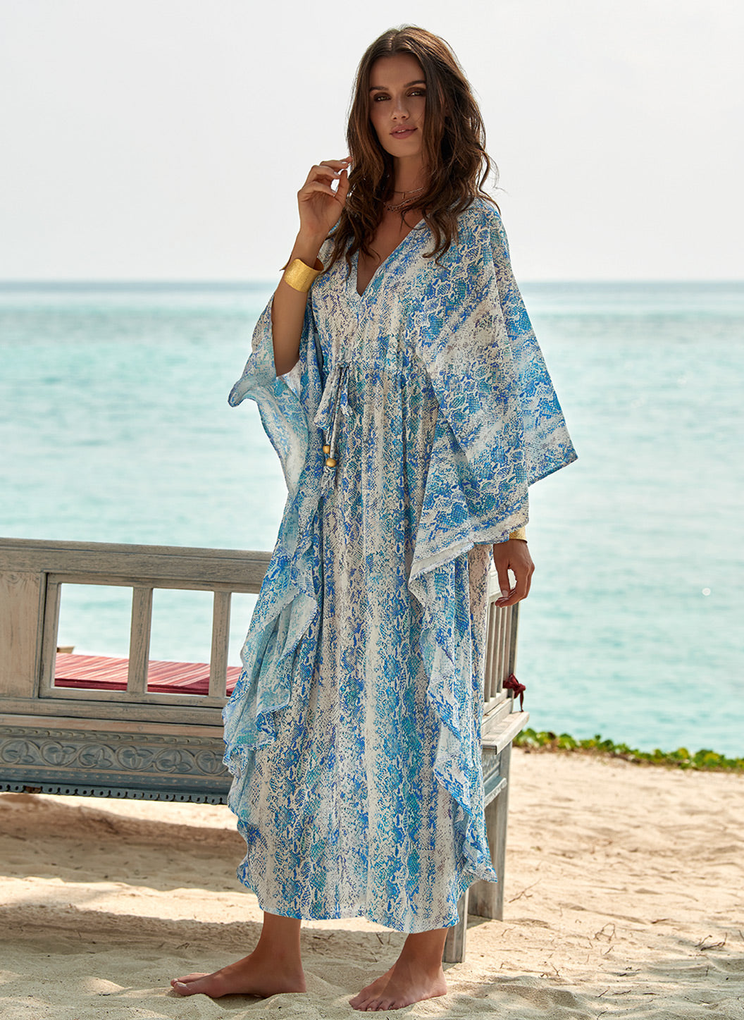 Robin Serpente V-Neck Midi Silk Kaftan