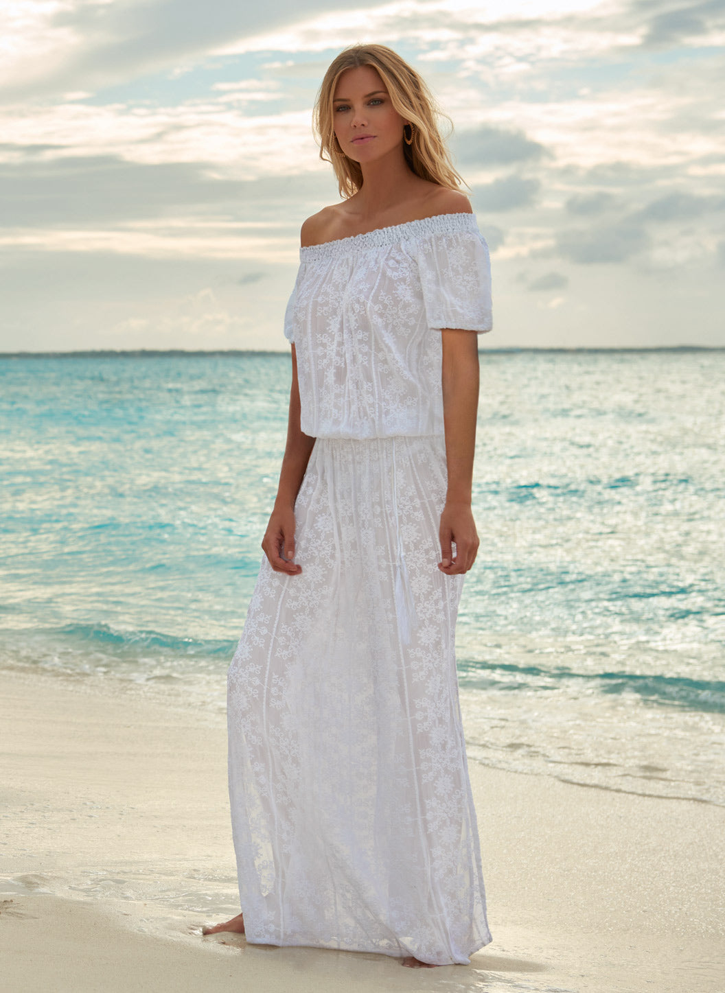 Sabina White Embroidered Off The Shoulder Maxi Dress - Melissa Odabash Dresses & Kaftans