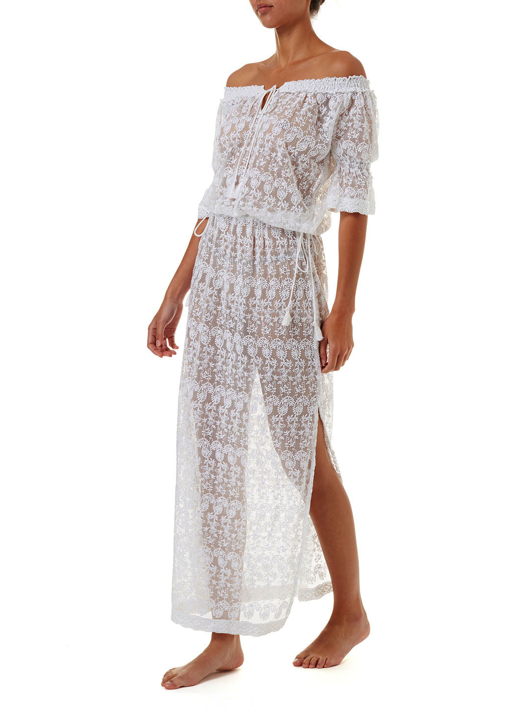 Sabina White Embroidered Off The Shoulder Maxi Dress
