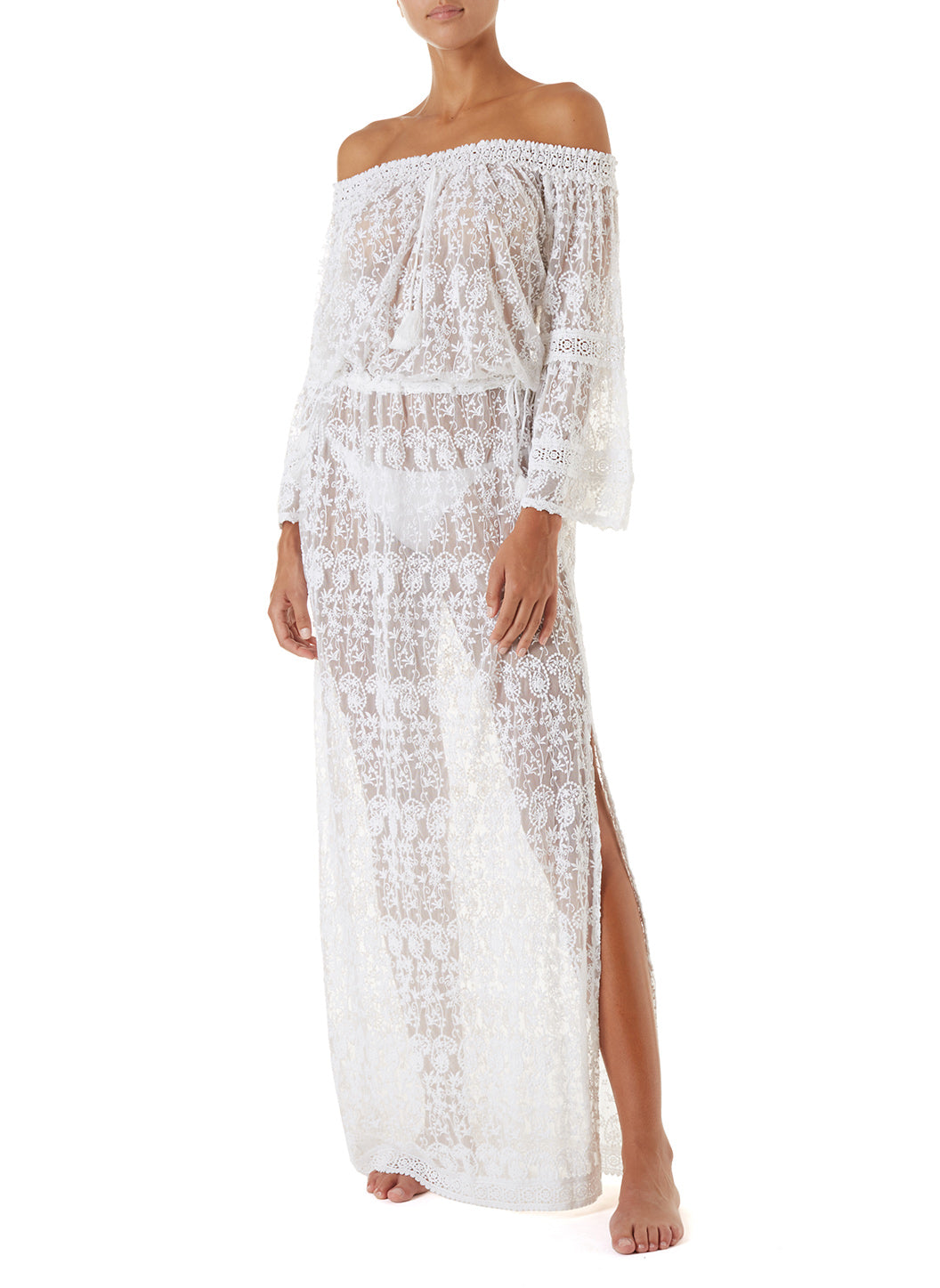 Sabina White Embroidered Off The Shoulder Maxi Dress - Melissa Odabash Beachwear