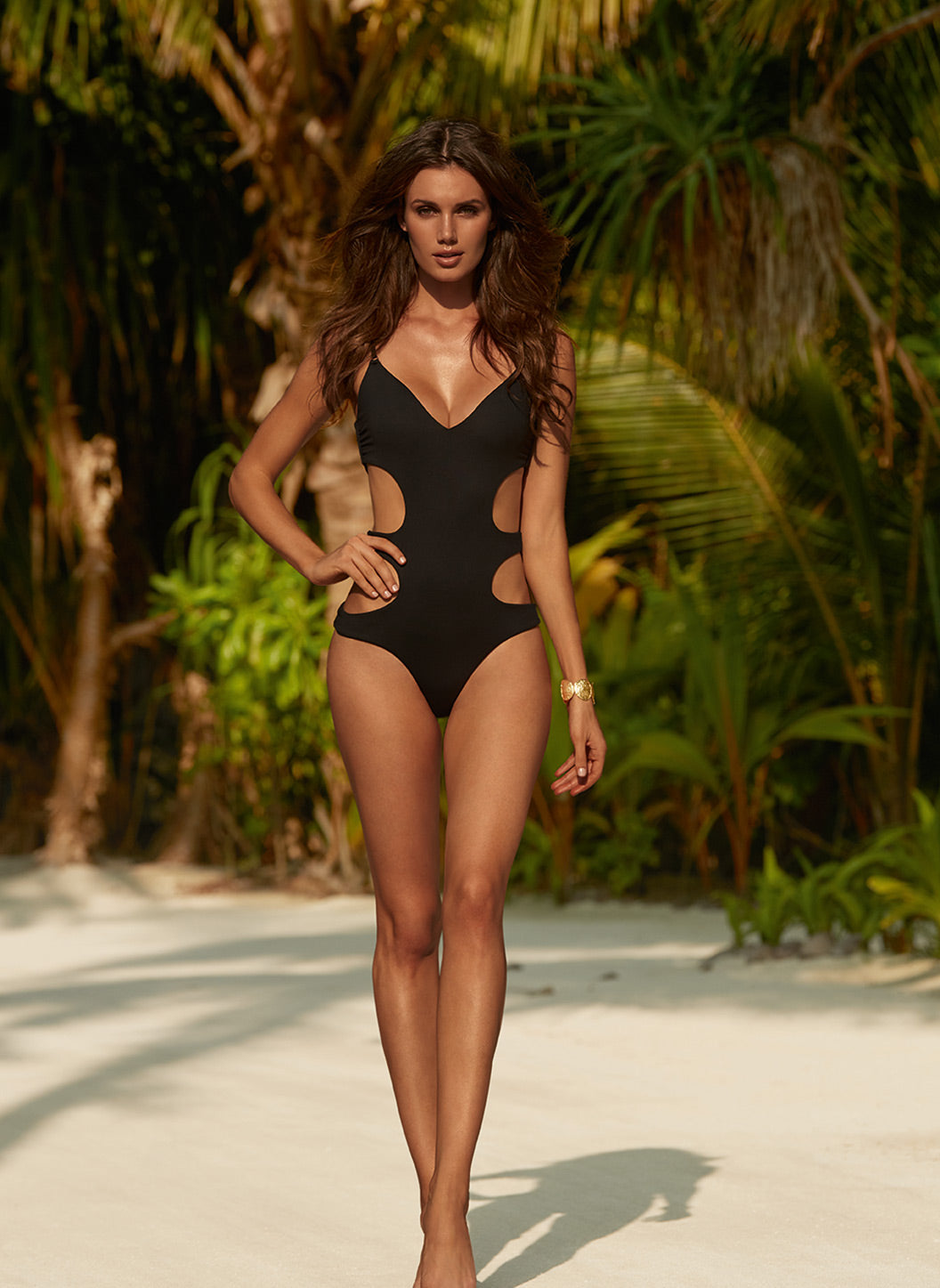 Santorini Black Over The Shoulder Cut Out Swimsuit  - Melissa Odabash Swimwear