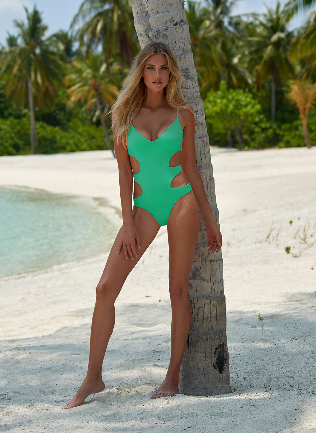 Santorini Green Over The Shoulder Cut Out Swimsuit  - Melissa Odabash Swimwear