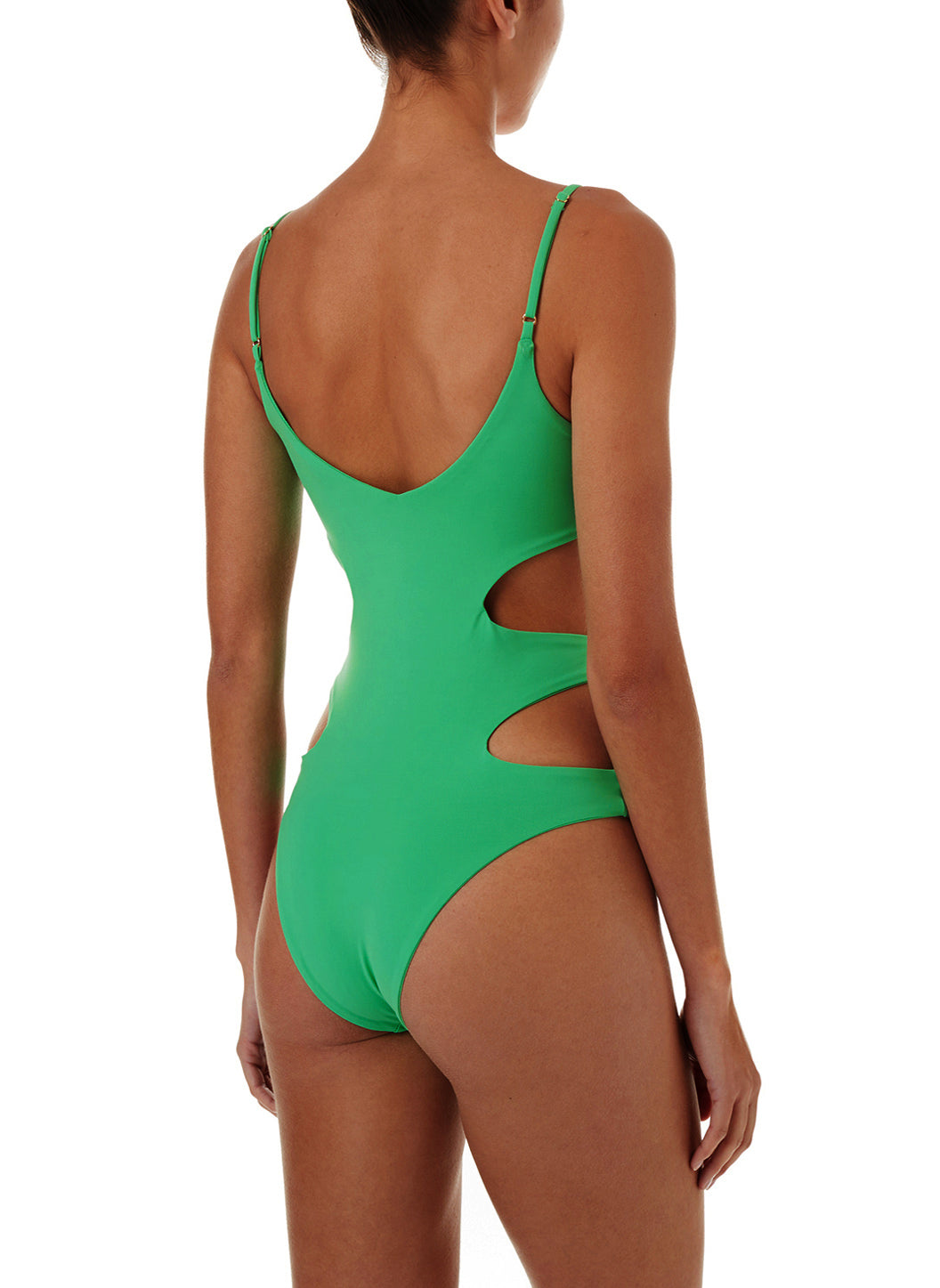 b2078c0702 Santorini Green Over The Shoulder Cut Out One Piece Swimsuit ...
