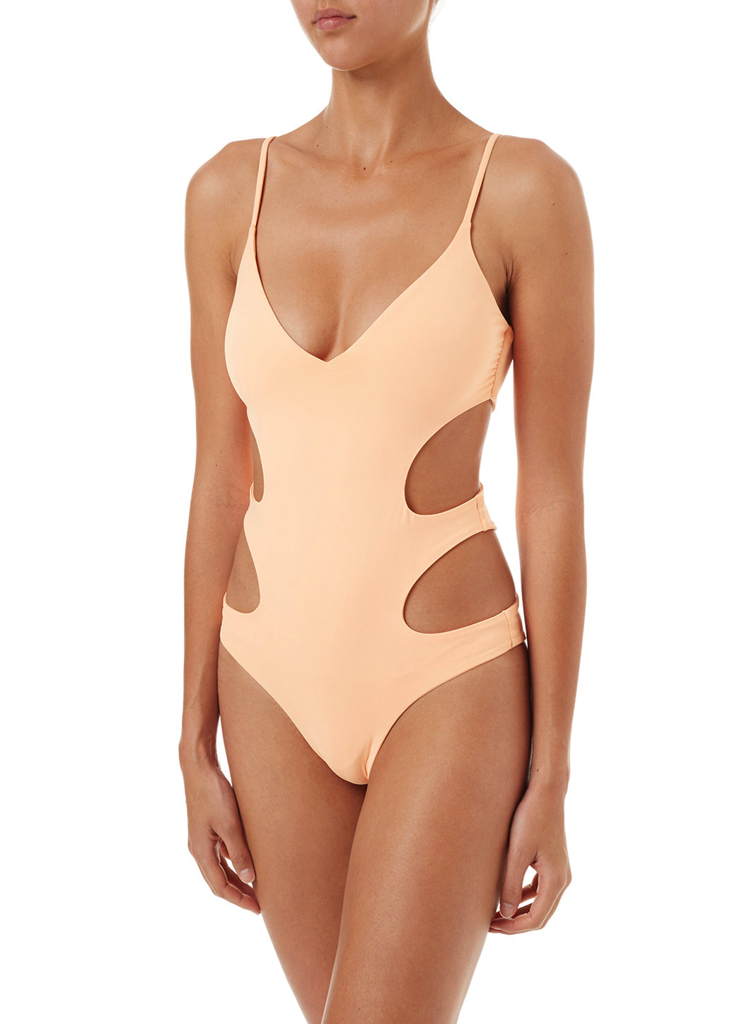 Santorini Mango Over The Shoulder Cut Out Swimsuit
