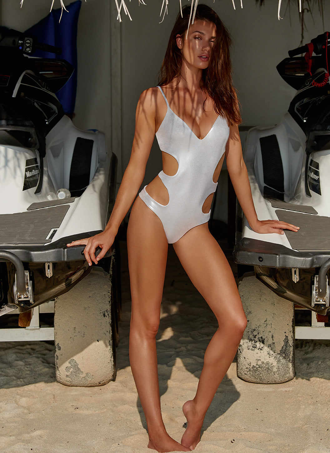 Santorini Silver Over The Shoulder Cut Out Swimsuit  - Melissa Odabash Sports-Luxe