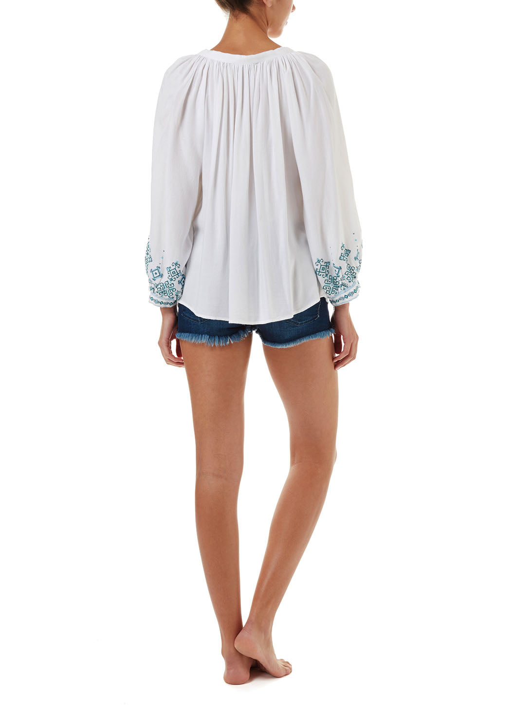Shiv White/Mint Lace-up Embroidered Blouse