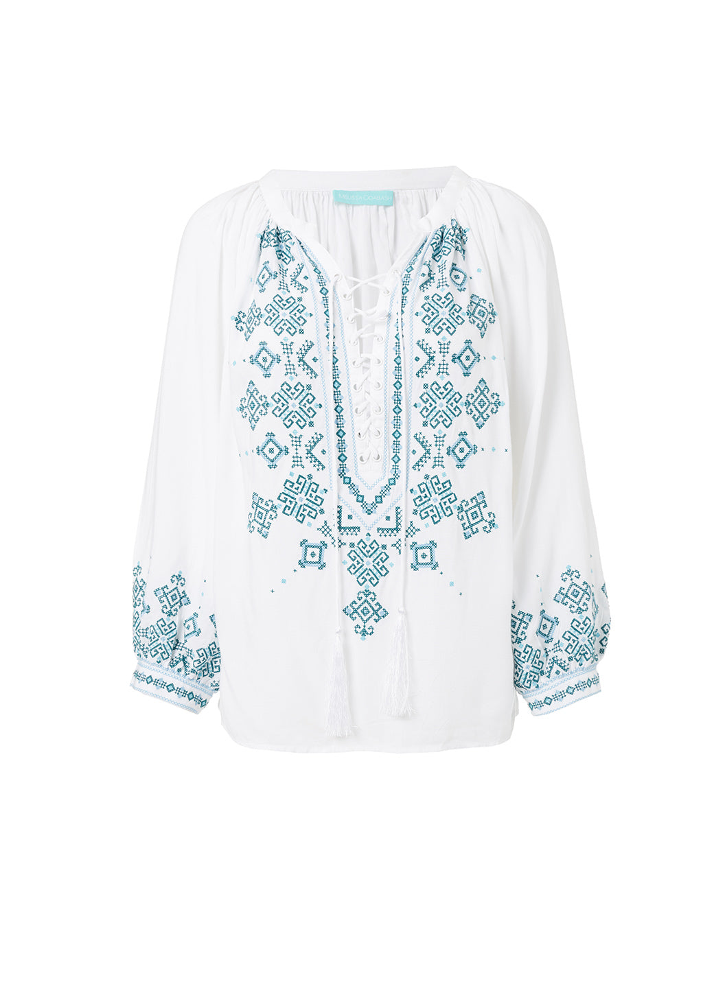 Shiv White/Mint Lace-Up Embroidered Blouse - Melissa Odabash Tops & Bottoms