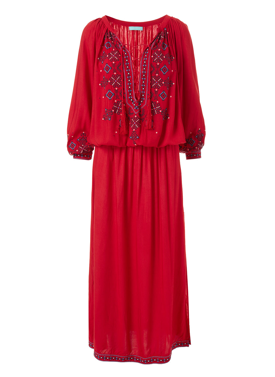 Sienna Red Embroidered 3/4 Sleeve Maxi Dress  - Melissa Odabash Beachwear